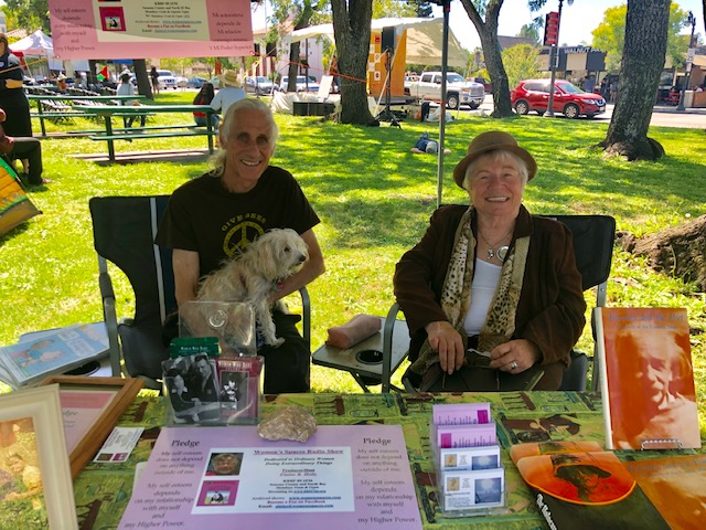 Elaine, Ken and Rosey at the Women's Spaces booth at the Petaluma Progressive Fesitval 8/25/2019
