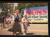 Nuns on the Bus with Sister Simeone Campbell waving