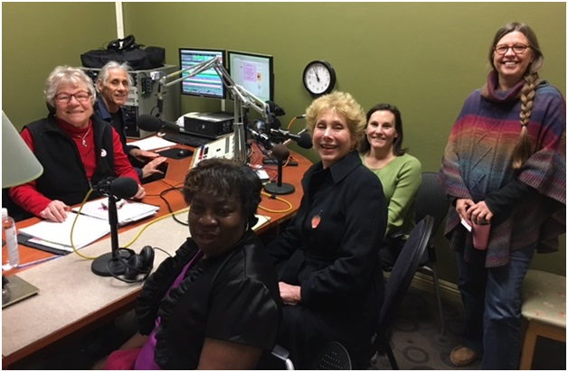 Elaine B. Holtz, Co-Producer/Host of Women's Spaces, and Ken Norton, Co-Producer/Sound Engineer, with guests Nancy Rogers and Dr. Harriet Fraad in front, and behind friends June Brashares and Eileer Moribito after the show of February 27, 2017 in the new studio in Santa Rosa, CA at Radio KBBF 89.1 FM - Photo by Francisco Lozano, KBBF-fm.org Webmaster