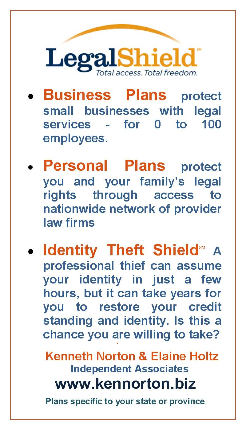 LegalShield for Business and Personal legal plans and for Identity Theft Shield with link to website www.kennorton.biz